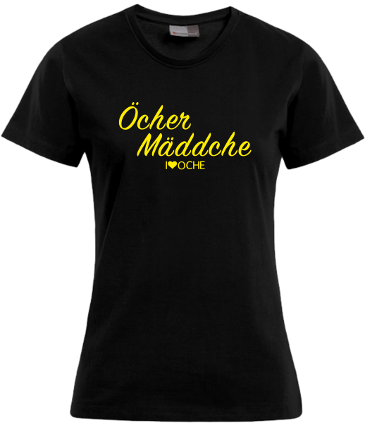 """""""ÖCHER MÄDDCHE"""" curved - schwarzes Damen T-Shirt"""