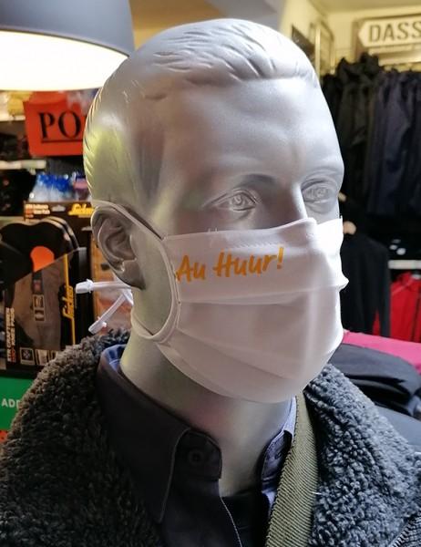 """Behelfsmaske """"Au Huur"""" Farbe weiß mit Bindeband"""