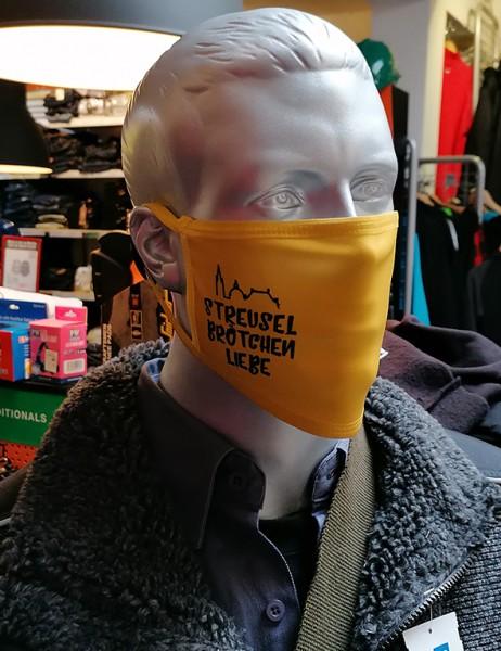 """Behelfsmaske """"Streuselbrötchenliebe gelb"""" mit Gummizug"""