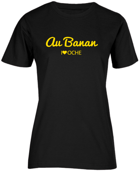 """AU BANAN"" curved - schwarzes Damen T-Shirt"