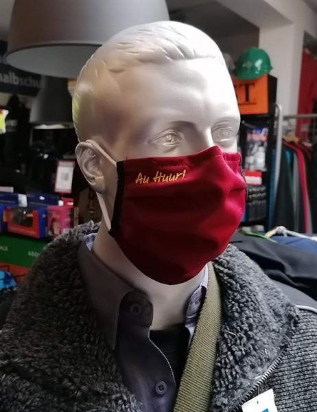 "Bordeaux Behelfsmaske mit Stick ""Au Huur"" | mit Gummiband & Nasensteg"