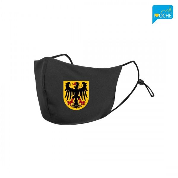 """Schwarze Behelfsmaske """"Wappen"""" mit Gummizug"""