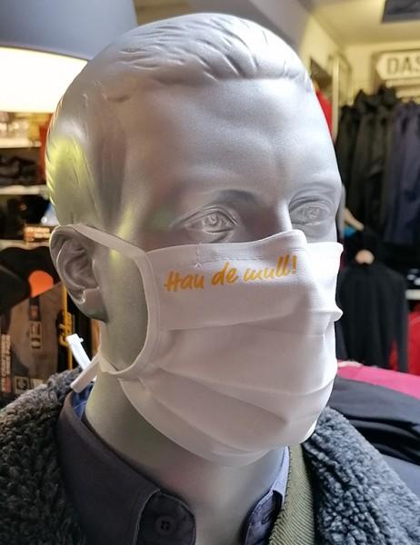 """Behelfsmaske """"Hau de mull"""" Farbe weiß mit Bindeband"""