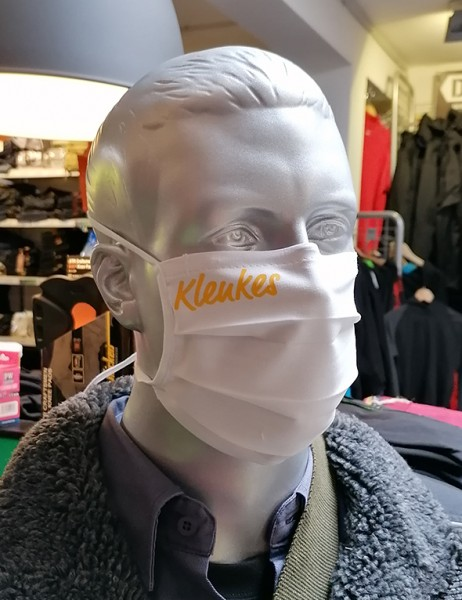 """Behelfsmaske """"Klenkes"""" Farbe weiß mit Bindeband"""