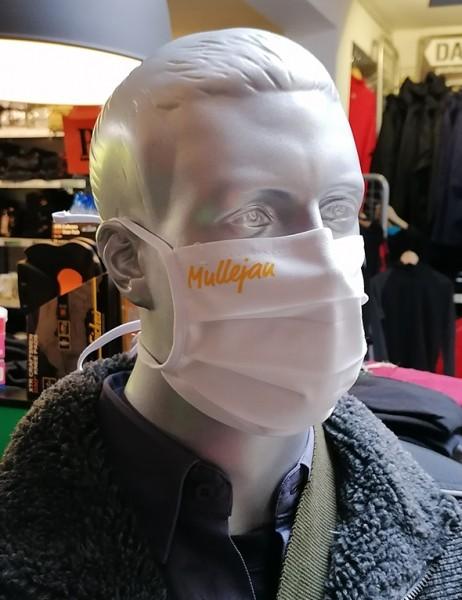 """Behelfsmaske """"Mullejan"""" Farbe weiß mit Bindeband"""
