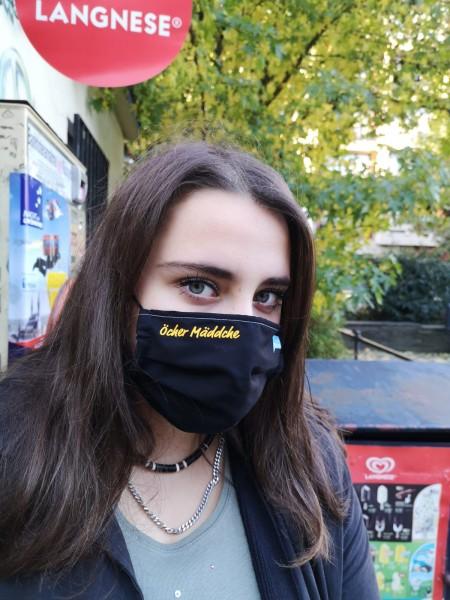 Öcher Mäddche schwarze Behelfsmaske Eterna 100% Baumwolle