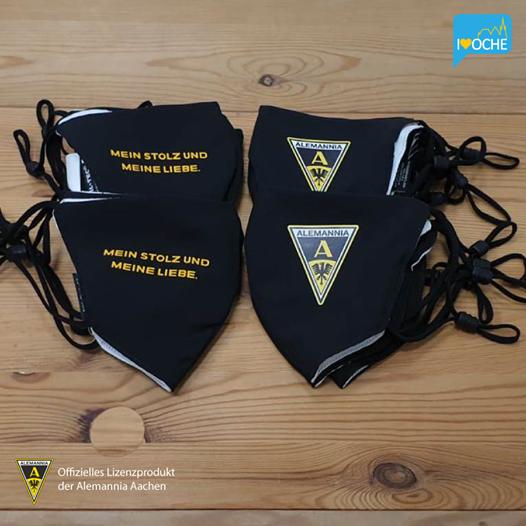 Alemannia Aachen schwarze Behelfsmaske