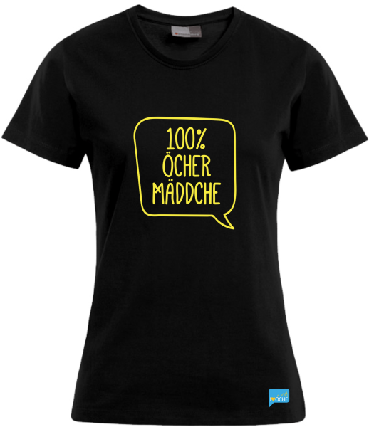 """100% ÖCHER MÄDDCHE"" - schwarzes Damen T-Shirt"