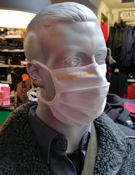 """Behelfsmaske """"Schnüssjardinche"""" Farbe weiß mit Bindeband"""
