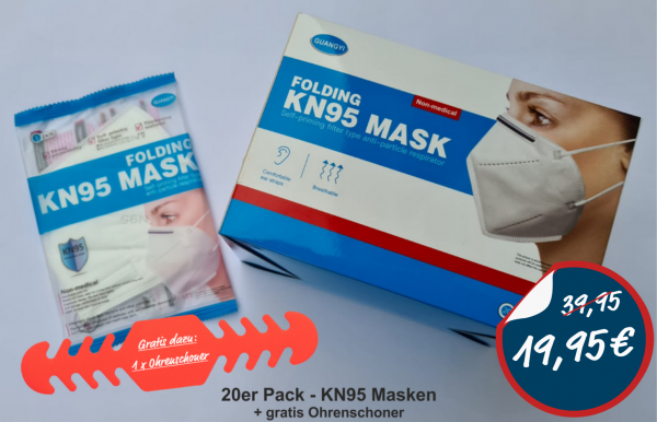 KN95 Maske 3-lagig 20er Karton (einzelverpackt)