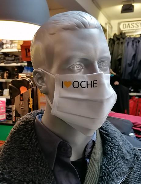 """Weiße Behelfsmaske """"I Love Oche""""   mit Gummizug & Nasensteg   BW"""