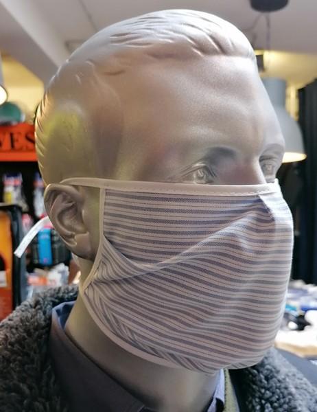 Nase-,Mundmaske m. Bindeband - nicht zertifiziert blau/weiß gestreift
