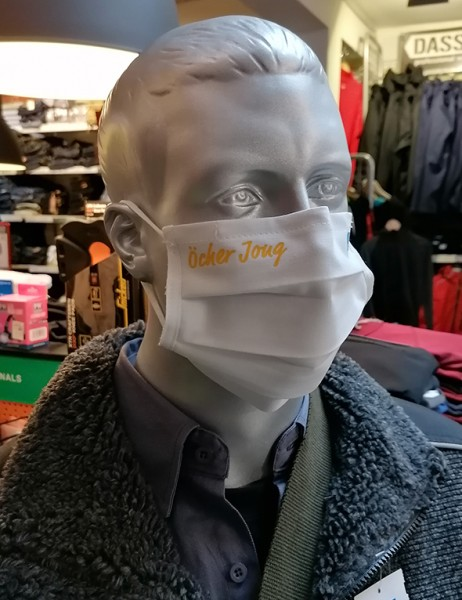 "Weiße Behelfsmaske ""Öcher Jong"" | mit Gummizug & Nasensteg | BW"