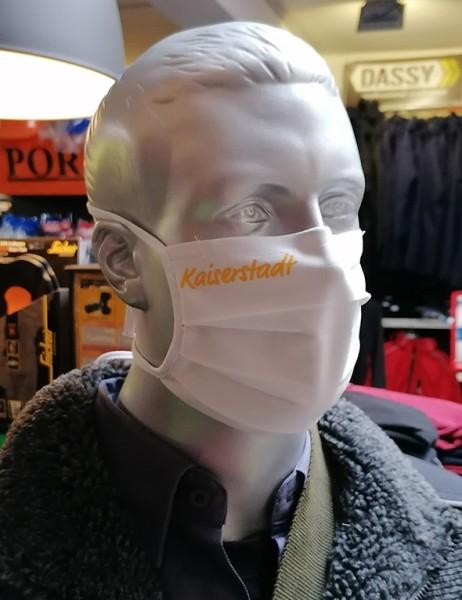 """Behelfsmaske """"Kaiserstadt"""" Farbe weiß mit Bindeband"""