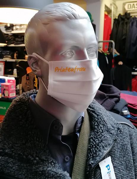 "Weiße Behelfsmaske ""Printenfrau"" | mit Gummizug & Nasensteg | BW"