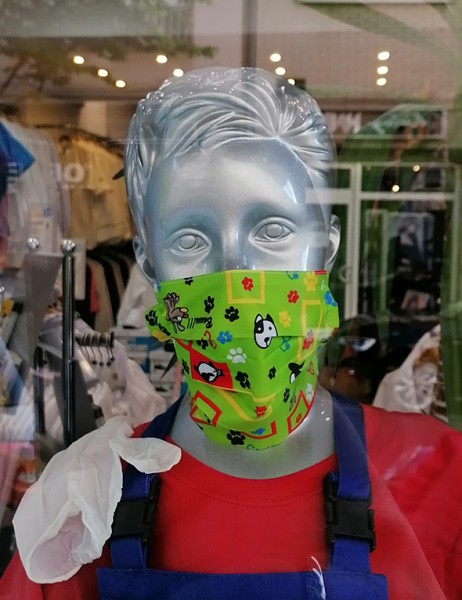 Nase-,Mundmaske Igea Motiv auf grün mit Gummizug